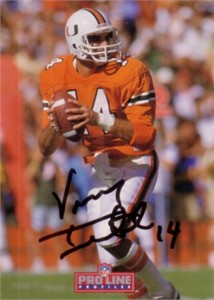 Vinny Testaverde autographed Miami Hurricanes card