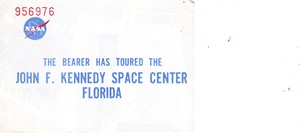 Vintage 1970s John F. Kennedy Space Center tour souvenir ticket stub
