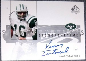 Vinny Testaverde autographed New York Jets 1999 Donruss card