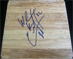 Wayne Ellington autographed basketball hardwood floor