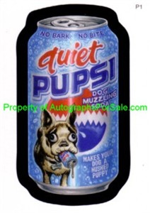 Wacky Packages 2007 promo card P1 (Quiet Pupsi)