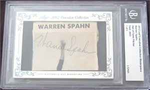 Warren Spahn certified autograph 2012 Leaf Executive Masterpiece Cut Signature card #1/1