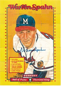 Warren Spahn autographed Milwaukee Braves 1989 Donruss Diamond King 8x11 puzzle