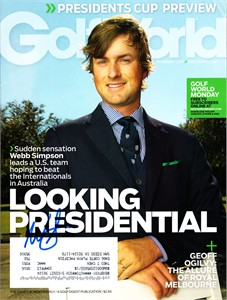 Webb Simpson autographed 2011 Golf World magazine