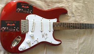 Wednesday 13 autographed Fender Squier Bullet red electric guitar