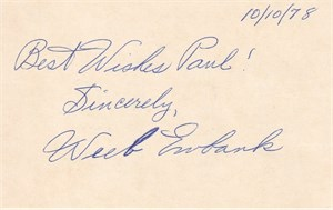 Weeb Ewbank autographed 3x5 card (dated 10/10/78 and inscribed Best Wishes Paul!)