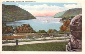 West Point Hudson River vintage postcard