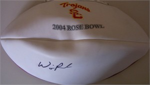 Will Poole autographed USC Trojans 2004 Rose Bowl football