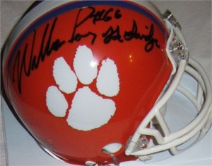 William (The Refrigerator) Perry autographed Clemson Tigers mini helmet inscribed The Fridge