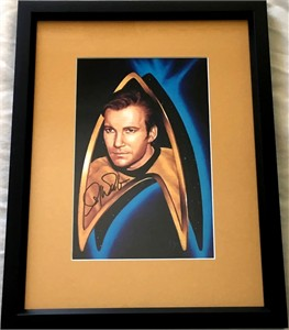 William Shatner autographed Star Trek Captain Kirk art print matted & framed