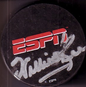 Willie O'Ree autographed ESPN logo hockey puck