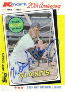 Willie McCovey autographed San Francisco Giants 1982 Topps MVP card