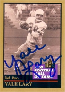 Yale Lary autographed Detroit Lions Pro Football Hall of Fame card