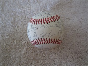 1982 New York Yankees team autographed AL baseball (Mickey Mantle Yogi Berra Whitey Ford Catfish Hunter)