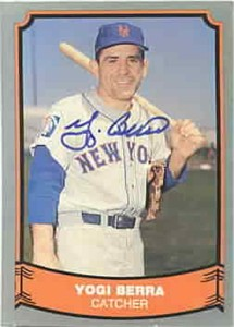Yogi Berra autographed New York Mets 1988 Pacific Legends card