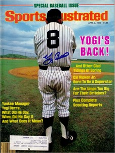 Yogi Berra autographed New York Yankees 1984 Sports Illustrated