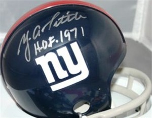 Y.A. Tittle autographed New York Giants throwback mini helmet inscribed HOF 1971