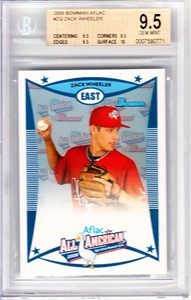 Zack Wheeler 2008 AFLAC Bowman Rookie Card graded BGS 9.5 GEM MINT